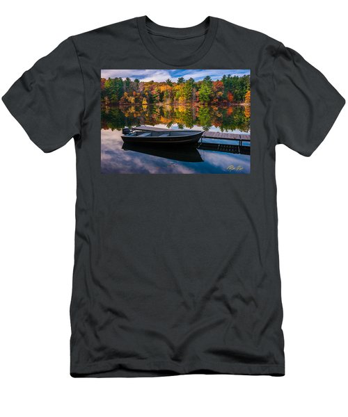 Fishing Boat On Mirror Lake Men's T-Shirt (Athletic Fit)