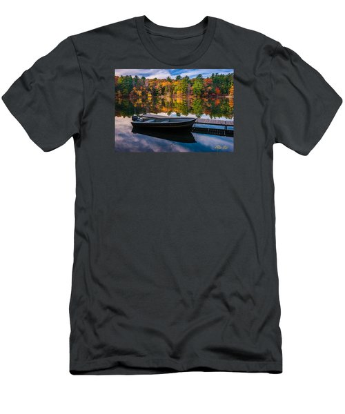 Men's T-Shirt (Athletic Fit) featuring the photograph Fishing Boat On Mirror Lake by Rikk Flohr