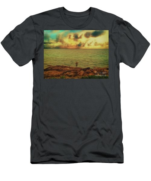 Men's T-Shirt (Athletic Fit) featuring the photograph Fishing On The Rocks by Leigh Kemp