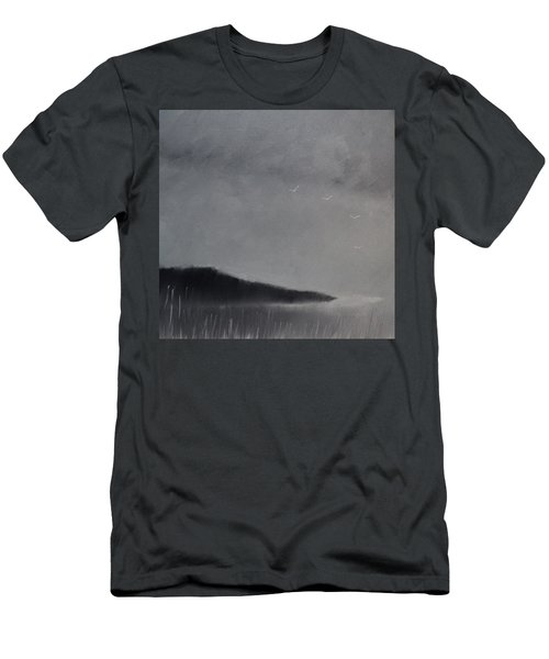 Men's T-Shirt (Slim Fit) featuring the painting Fjord Landscape by Tone Aanderaa