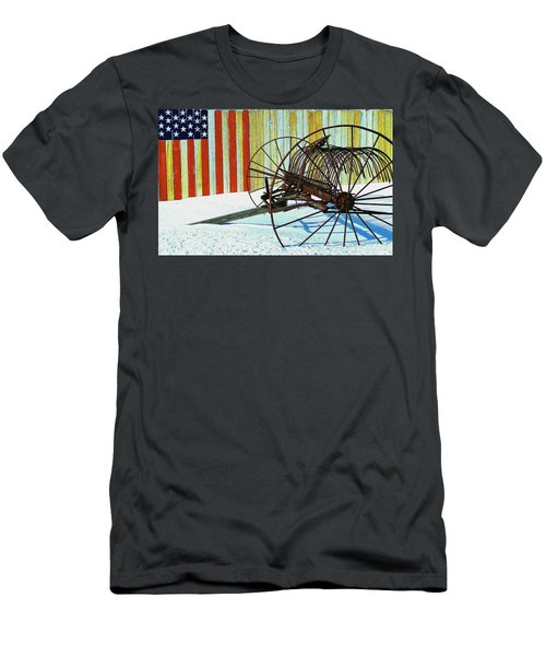Flag And The Wheel Men's T-Shirt (Athletic Fit)
