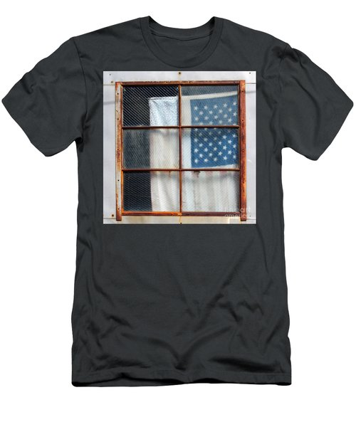 Flag In Old Window Men's T-Shirt (Athletic Fit)