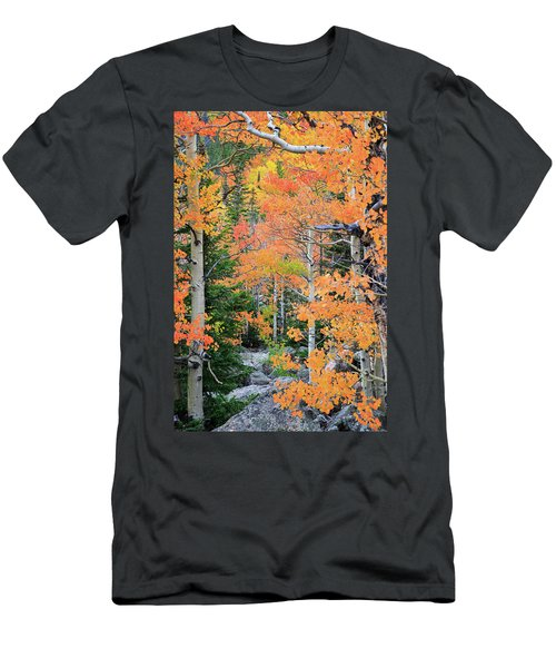 Flaming Forest Men's T-Shirt (Slim Fit) by David Chandler