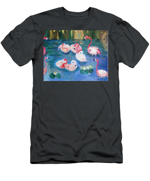 Men's T-Shirt (Slim Fit) featuring the painting Flamingos Diptich Right by Vicky Tarcau