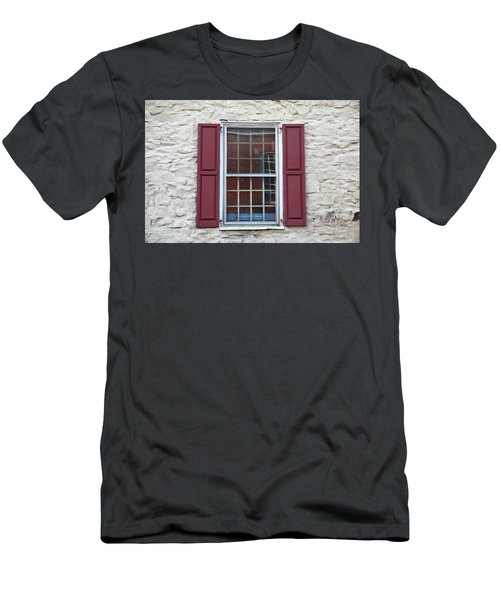 Men's T-Shirt (Slim Fit) featuring the photograph Flemington, Nj - Side Shop Window by Frank Romeo