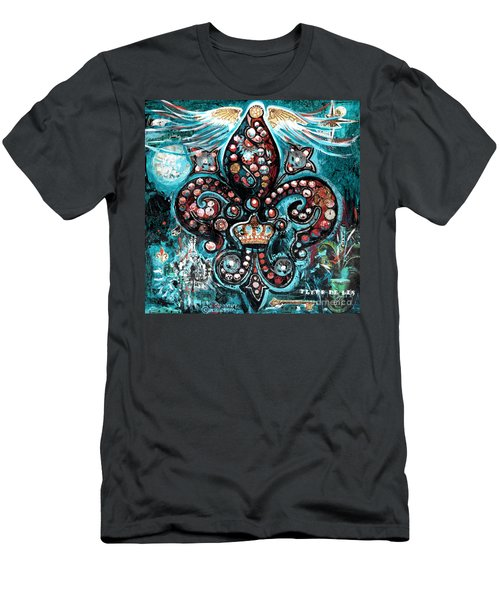 Men's T-Shirt (Slim Fit) featuring the painting Fleur De Lis Steampunk Style by Genevieve Esson