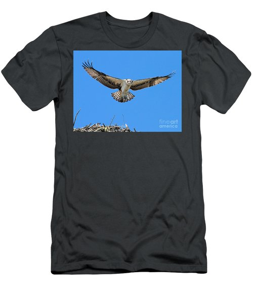 Men's T-Shirt (Athletic Fit) featuring the photograph Flight Practice Over The Nest by Debbie Stahre