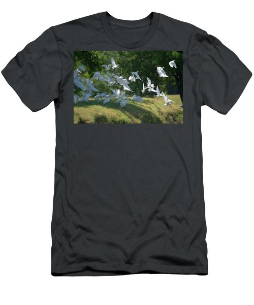 Flock Of Egrets In Flight Men's T-Shirt (Athletic Fit)