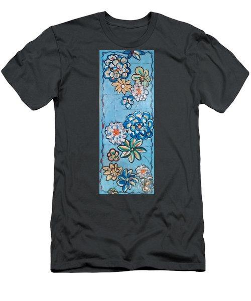 Floor Cloth Blue Flowers Men's T-Shirt (Slim Fit) by Judith Espinoza