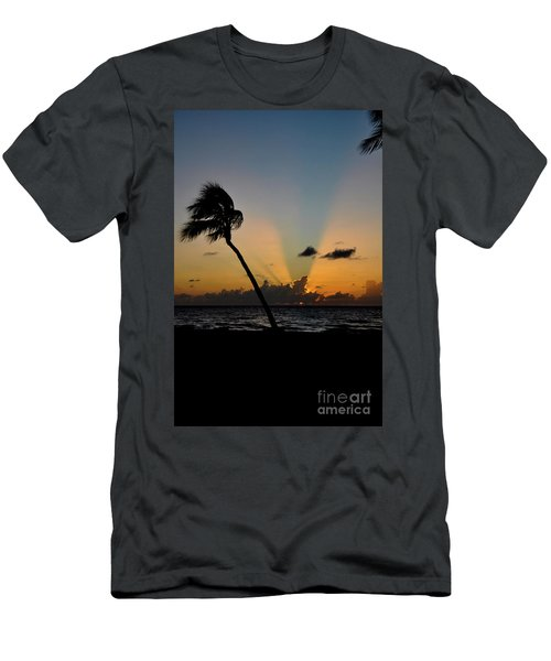 Men's T-Shirt (Slim Fit) featuring the photograph Florida Sunrise Palm by Kelly Wade