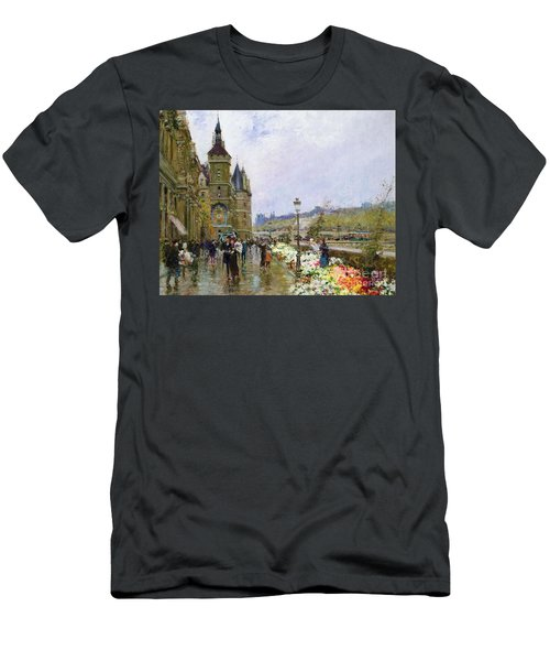 Flower Sellers By The Seine Men's T-Shirt (Athletic Fit)