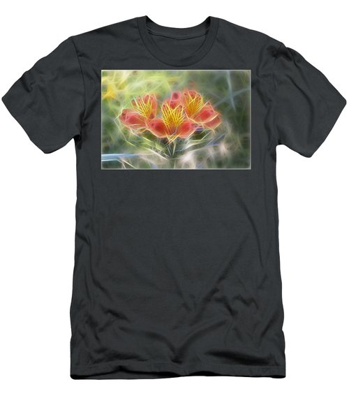 Flower Streaks Men's T-Shirt (Slim Fit) by Carol Crisafi