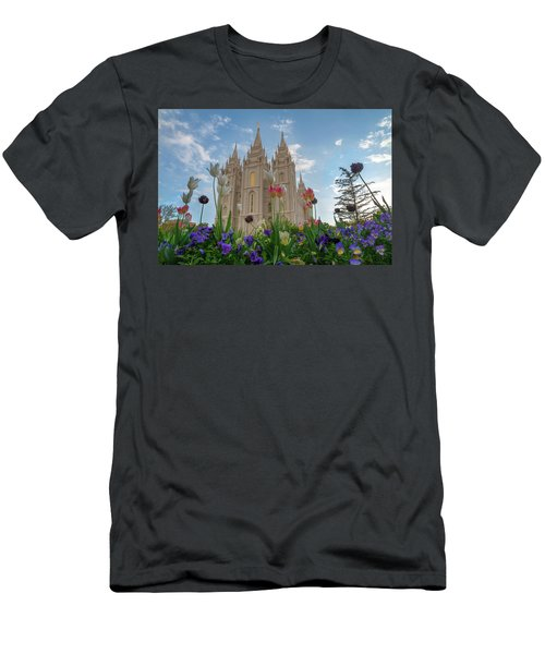 Men's T-Shirt (Athletic Fit) featuring the photograph Flowers At Temple Square by Dustin  LeFevre