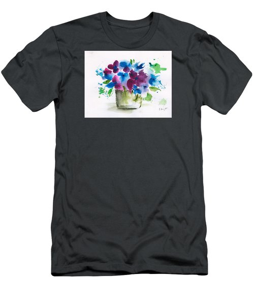 Flowers In A Glass Vase Abstract Men's T-Shirt (Slim Fit) by Frank Bright