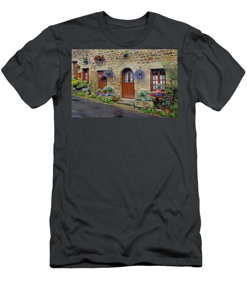 Flowery Doorways In Brittany Men's T-Shirt (Athletic Fit)