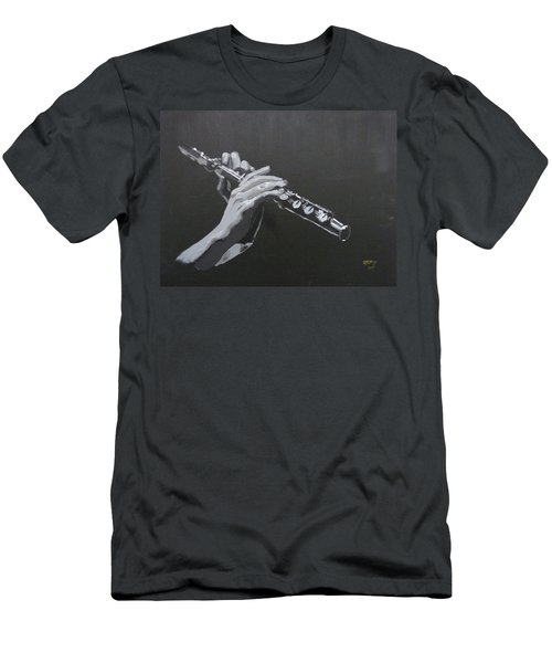 Men's T-Shirt (Athletic Fit) featuring the painting Flute Hands by Richard Le Page