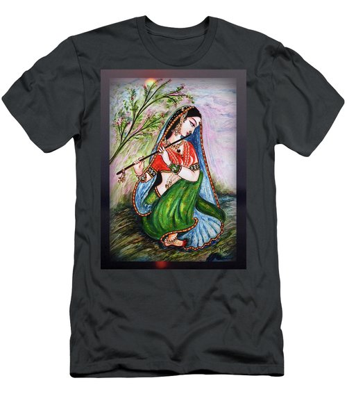 Flute Playing In - Krishna Devotion  Men's T-Shirt (Athletic Fit)