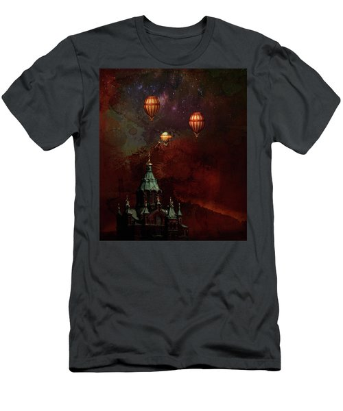 Men's T-Shirt (Slim Fit) featuring the digital art Flying Balloons Over Stockholm by Jeff Burgess