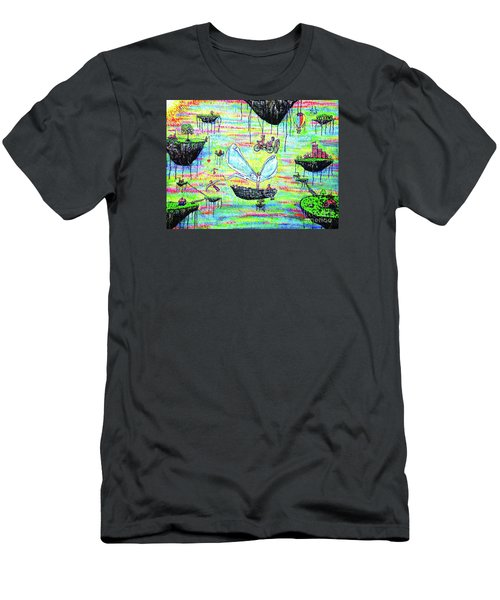 Men's T-Shirt (Slim Fit) featuring the painting Flying Islands by Viktor Lazarev