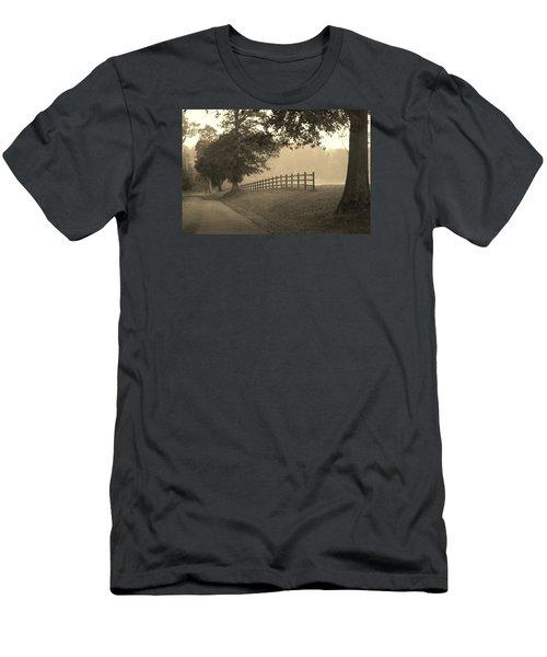 Foggy Fence Line Men's T-Shirt (Athletic Fit)
