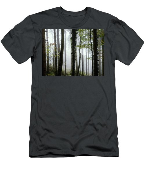 Foggy Forest Men's T-Shirt (Slim Fit) by Chevy Fleet