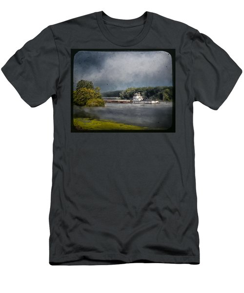 Foggy Morning At The Barge Harbor Men's T-Shirt (Athletic Fit)