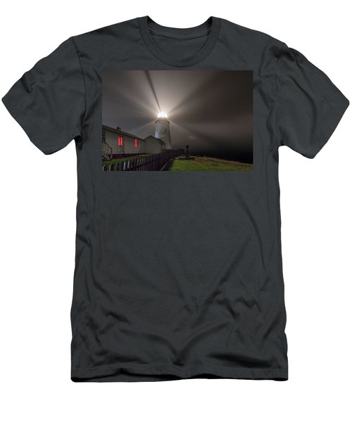Foggy Night At Pemaquid Point Lighthouse Men's T-Shirt (Athletic Fit)