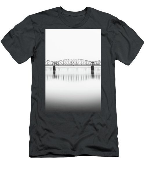 Foggy Winter Mood At Vltava River. Reflection Of Bridges In Water. Black And White Atmosphere, Prague, Czech Republic Men's T-Shirt (Athletic Fit)