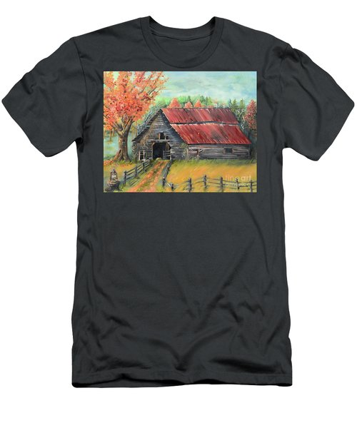 Men's T-Shirt (Athletic Fit) featuring the painting Follow The Lantern - Early Morning Barn- Anne's Barn by Jan Dappen