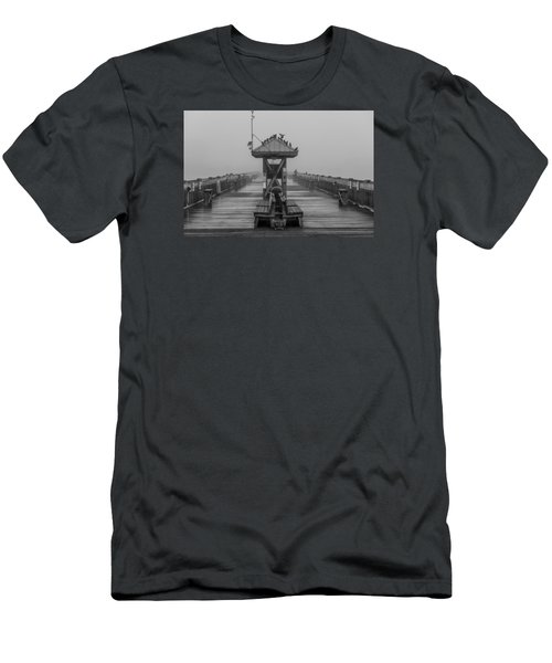 Folly Beach Pier Black And White  Men's T-Shirt (Athletic Fit)