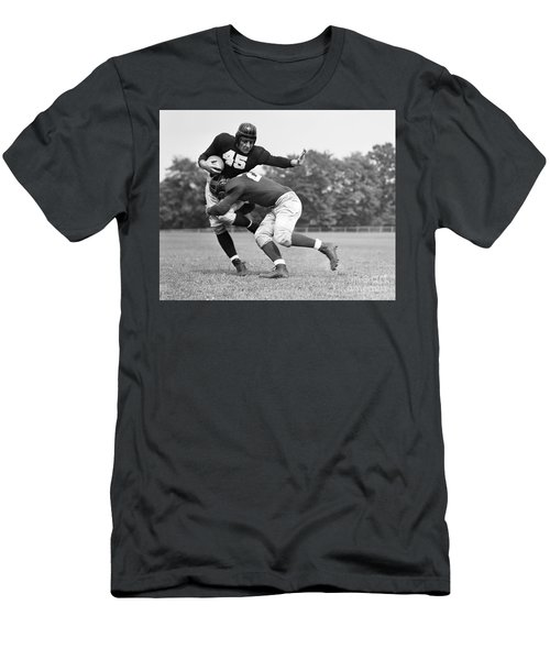 Football Player Being Tackled, C.1940s Men's T-Shirt (Athletic Fit)