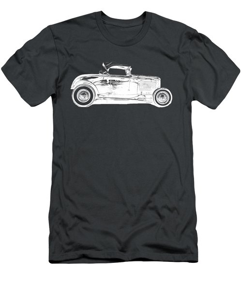 Ford Hot Rod Invert White Ink Tee Men's T-Shirt (Athletic Fit)