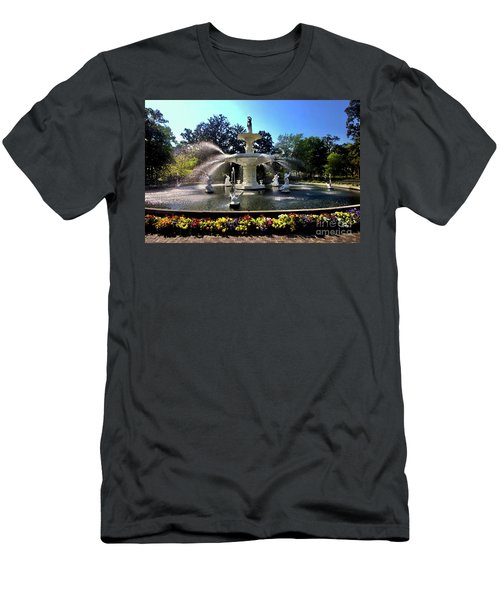 Forsyth Fountain In Spring Men's T-Shirt (Athletic Fit)