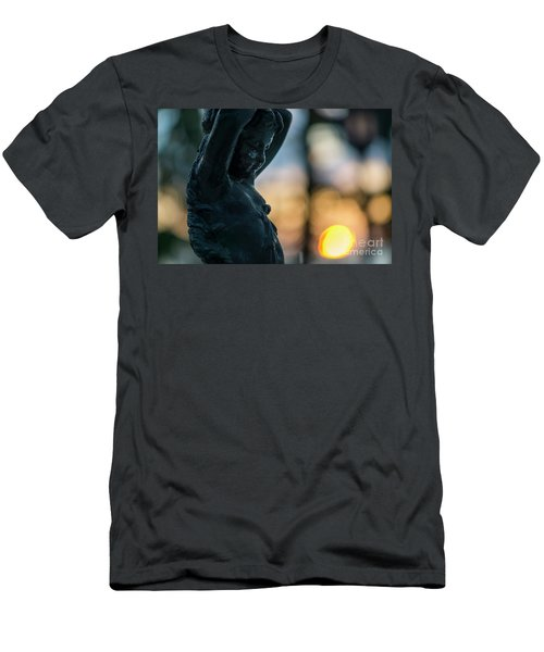 Men's T-Shirt (Athletic Fit) featuring the photograph Fountain At Sunset Alameda Apodaca Cadiz Spain by Pablo Avanzini