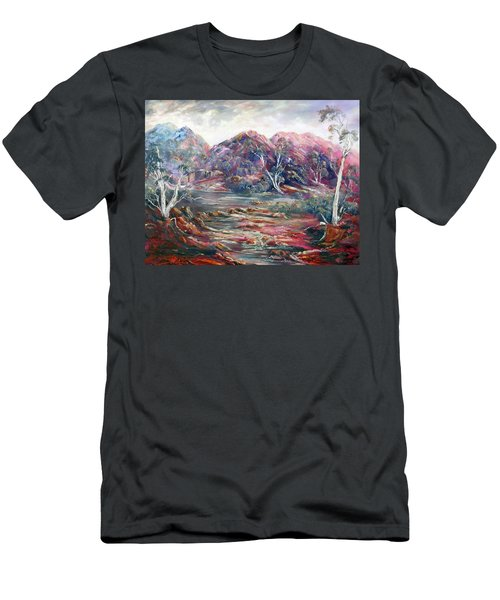 Men's T-Shirt (Athletic Fit) featuring the painting Fountain Springs Outback Australia by Ryn Shell