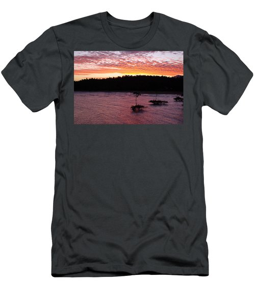 Men's T-Shirt (Slim Fit) featuring the photograph Four Elements Sunset Sequence 5 Coconuts Qld  by Kerryn Madsen - Pietsch