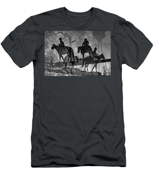 Men's T-Shirt (Athletic Fit) featuring the digital art Four Horsemen Black And White by Visual Artist Frank Bonilla