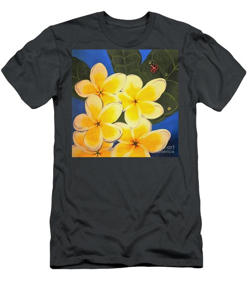 Frangipani With Lady Bug Men's T-Shirt (Slim Fit) by Sandra Phryce-Jones