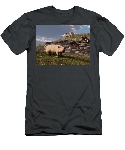 Free Range Pigs Men's T-Shirt (Athletic Fit)