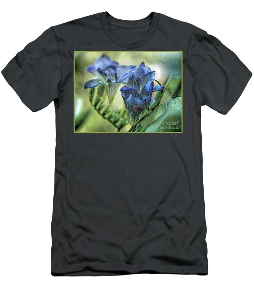 Men's T-Shirt (Athletic Fit) featuring the photograph Freesia Carved In Blue by Lance Sheridan-Peel