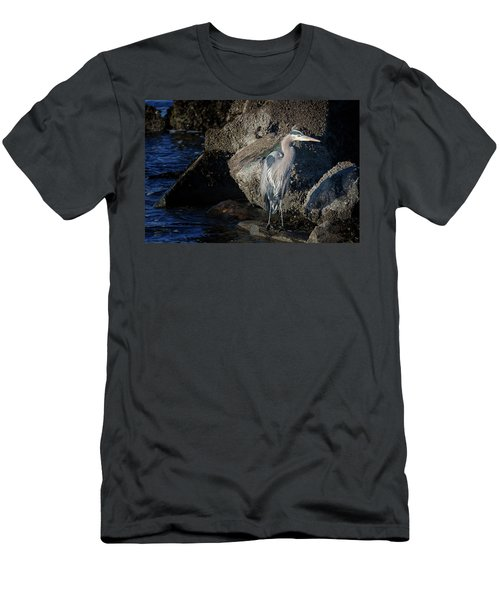 Men's T-Shirt (Slim Fit) featuring the photograph French Creek Heron by Randy Hall