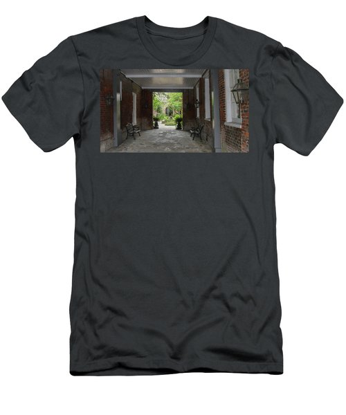 French Quarter Courtyard Men's T-Shirt (Slim Fit) by Mark Barclay