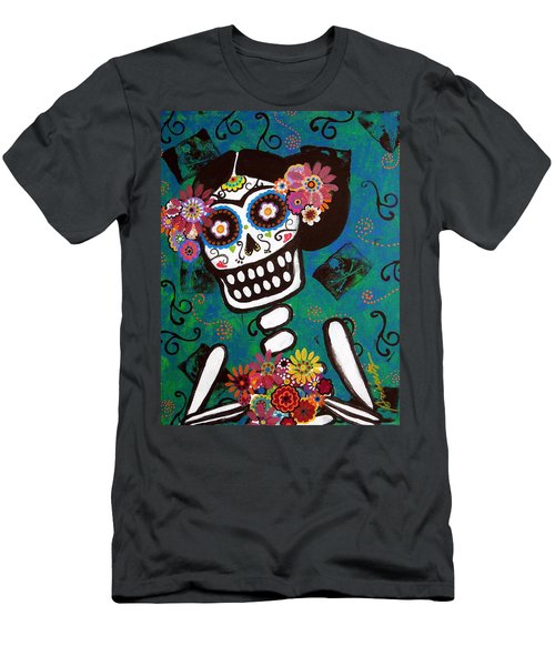 Frida Dia De Los Muertos Men's T-Shirt (Slim Fit) by Pristine Cartera Turkus