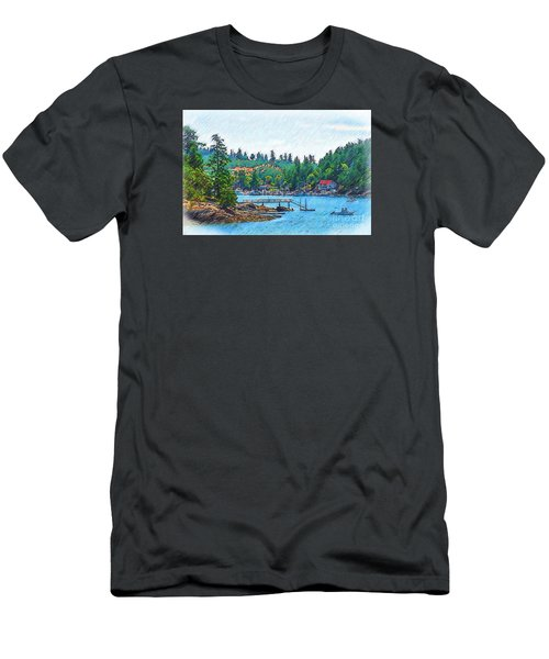 Friday Harbor Sketched Men's T-Shirt (Slim Fit) by Kirt Tisdale