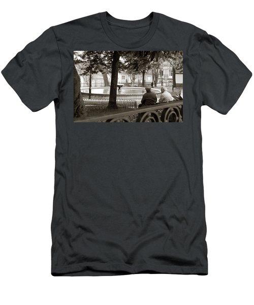 Friends At The Fountain Men's T-Shirt (Slim Fit) by Lorraine Devon Wilke