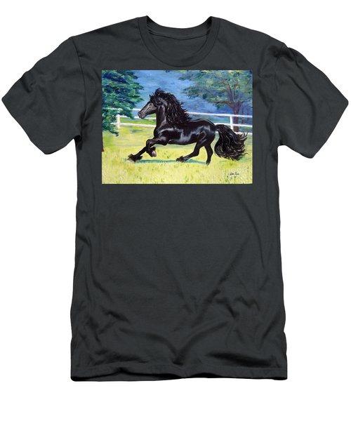 Friesian, Run Like The Wind Men's T-Shirt (Slim Fit) by Lisa Rose Musselwhite
