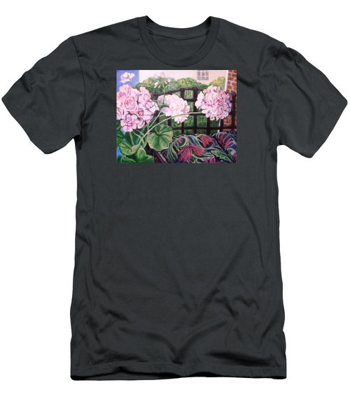 Front Porch Flowers Men's T-Shirt (Slim Fit) by Laura Aceto