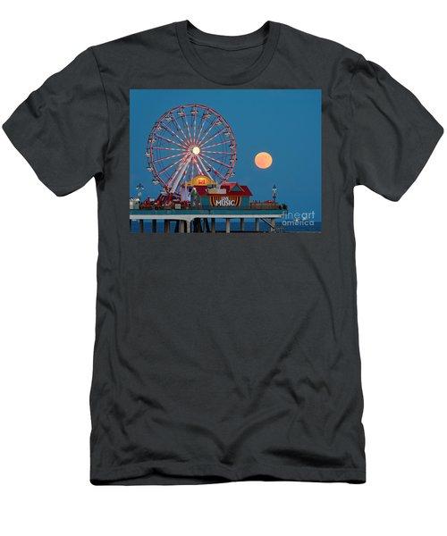Full Moon Rising Above The Gulf Of Mexico - Historic Pleasure Pier - Galveston Island Texas Men's T-Shirt (Athletic Fit)
