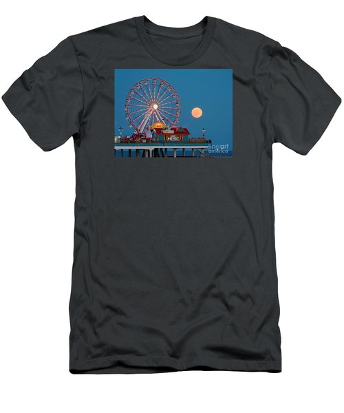 Full Moon Rising Above The Gulf Of Mexico - Historic Pleasure Pier - Galveston Island Texas Men's T-Shirt (Athletic Fit)