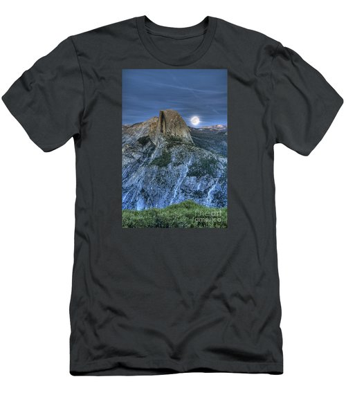 Full Moon Rising Behind Half Dome Men's T-Shirt (Athletic Fit)